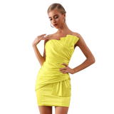 Yellow Strapless Ruffled  Evening Party Dress
