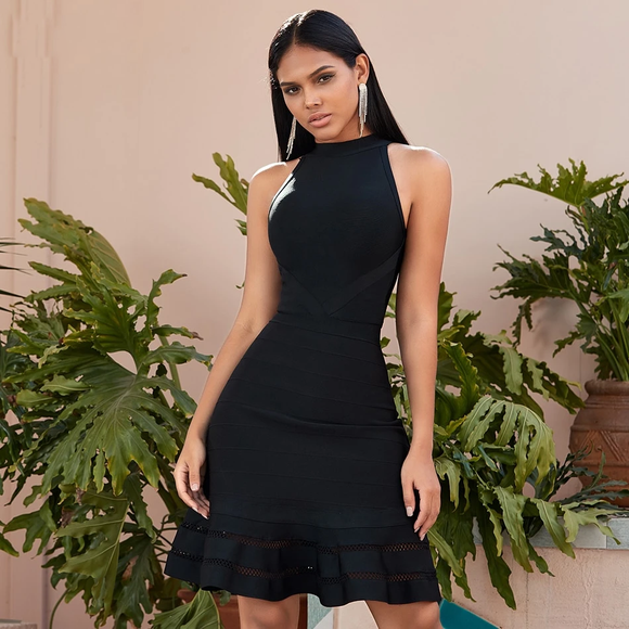 Elegant Black Sleeveless Trumpet Halter Dress