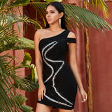 Black One Shoulder Beaded Bodycon Party Dress