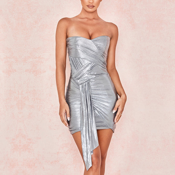 Silver Shimmer Celebrity Evening Party Dress - Strapless Draped Bodycon Dress
