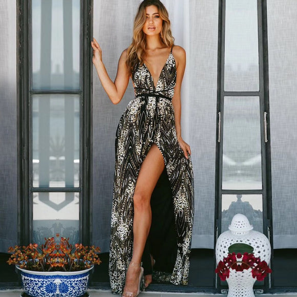 Women Sequined Spaghetti Strap Dress with Deep V Front - Long Maxi Day and Evening Dress