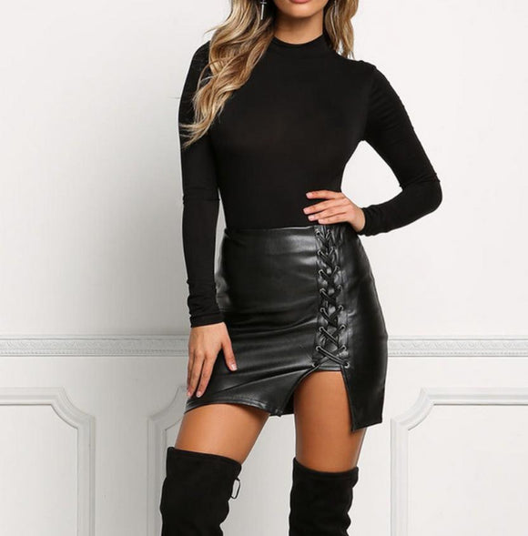 High Waist - Lace Up - Black Leather Mini Skirt