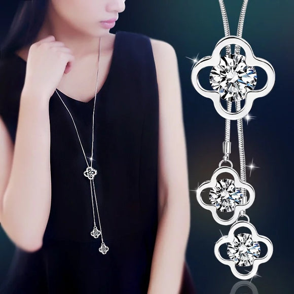 Long Chain Pendant Necklace - Hollow Leaves Crystal Sweater Chain
