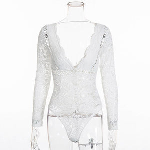 Bodysuit Women Long Sleeve Sexy Deep V Neck Scalloped Backless White Lace Bodysuit Body Women One Piece Bodycon Tops - i-love-fashion-365