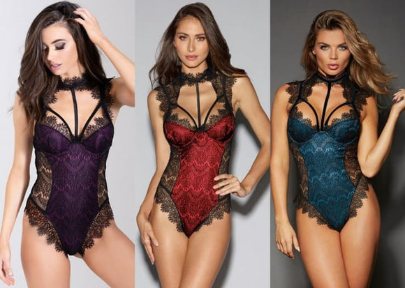 Lace Hollow Out Halter One Piece Bodysuit  (available in 3 colors) - i-love-fashion-365