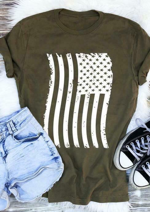 Women's American Flag Casual Fashion T-shirt Army Green - Tops - Tees - i-love-fashion-365