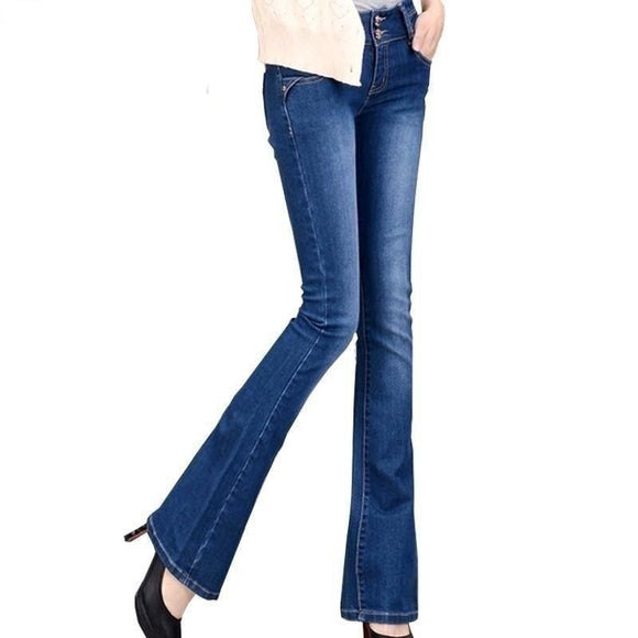 Women's Slim Stretch Jeans - Breathable Denim Fashion Flare Pants - i-love-fashion-365