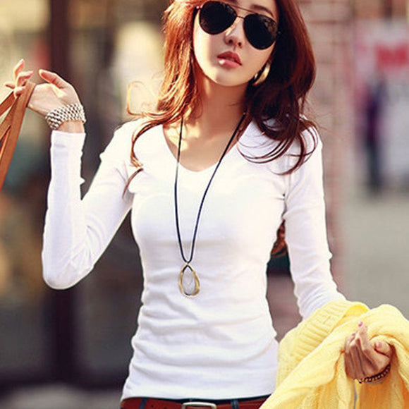Basic T Shirt Women Long Sleeve Womens Tops 2016 Spring Autumn Tee Shirt Women Korean Style T-Shirt Cotton New Plus Size Tshirt - i-love-fashion-365