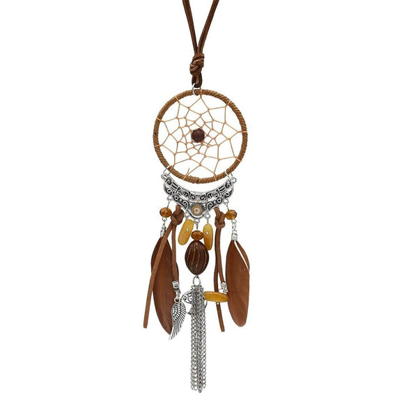 Long Bohemian Dream Catcher Necklace - Feather Charms - Leather - Resin Bead - Tassel Pendant Necklace Jewelry - I Love Fashion 365 - Zovasa