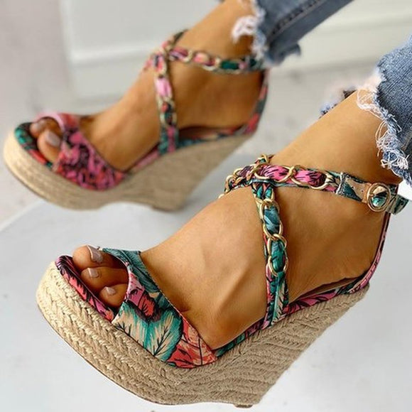 Women's Multi Colored Floral High Heel Wedge Sandals - Peep Toe Platform Shoes