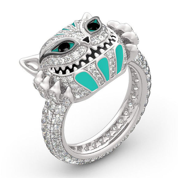 Cubic Zirconia Silver Fun Cat Bling Ring - Totem Punk Cat Ring - Jewelry - i Love Fashion 365 - Zovasa