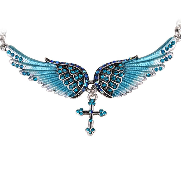 Guardian Angel Wing Cross Choker - Women's Crystal Silver Necklace with Gems - I Love Fashion 365 - Zovasa