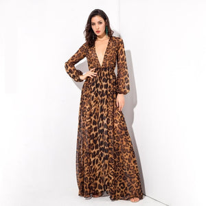 Brown Leopard Pattern Deep V-Neck Chiffon Long-Sleeved Summer Cover-up Maxi Dress