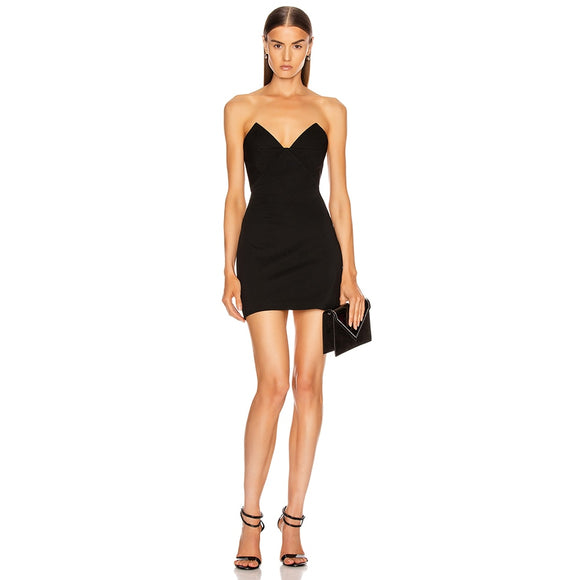 Solid Black Strapless Mini Bandage Dress  - Sexy Elegant Evening Party Dress