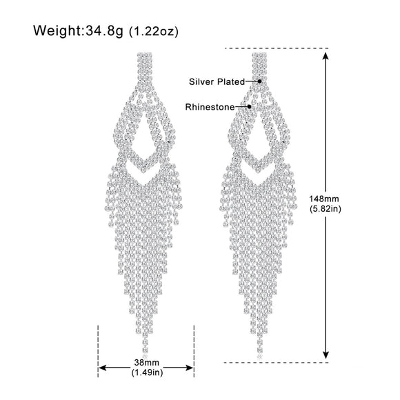 Statement Rhinestone Big Long Tassel Drop Earrings - Silver Color Double Layer Fringe Earrings
