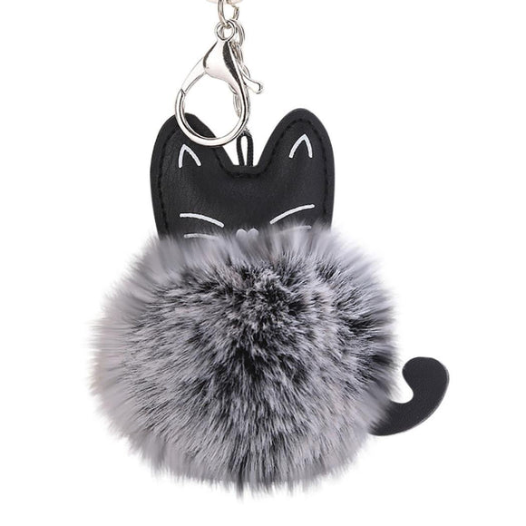 Cute Cat Keychain Pendant Women Key Ring Holder Pompoms Key Chains For Gift - i-love-fashion-365