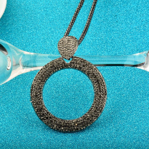 Dazzling Full Cubic Zirconia Hollow Round Pendant Long Necklace