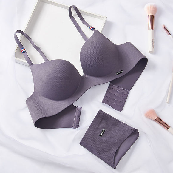 Seamless Solid Wire Free Push Up Bra and Panties Set