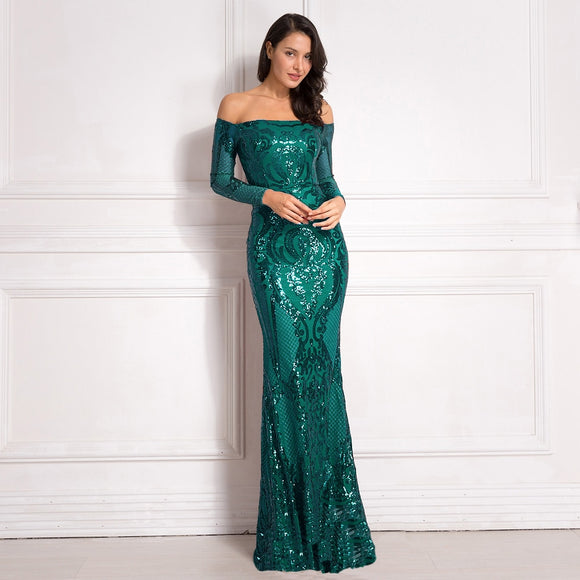 Shiny Sequined Evening Dress - Off the Shoulder Evening Gown