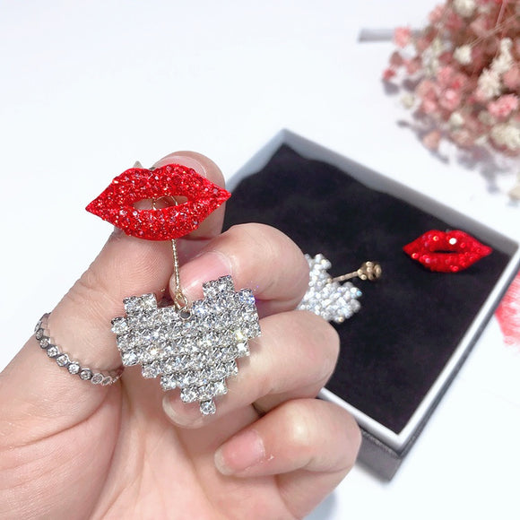 Statement Earrings  Shinning Rhinestone Heart Red Lip Drop Dangle Earrings Trendy Jewelry