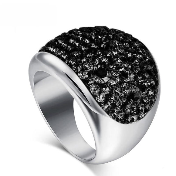Statement Austria Crystal Ring - Stainless Steel Bijoux Femme