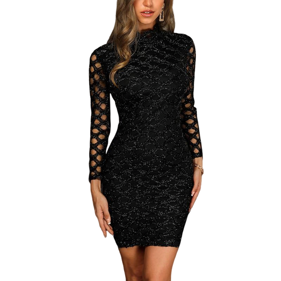 Black Solid Long Sleeves Shimmer Dress - Above Knee Party Dress