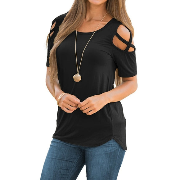 Women Loose Strappy Cold Shoulder Tops Basic T-Shirts Available in Multiple Colors - i-love-fashion-365
