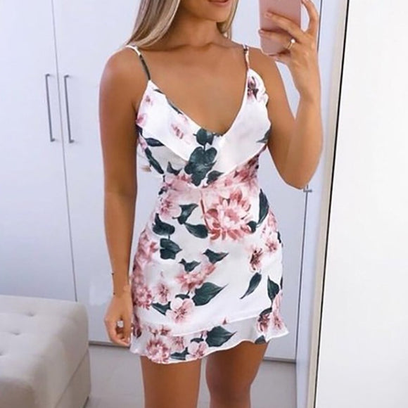 Sexy Summer Sundress - White Floral Printed Flirty Mini Resort Dress