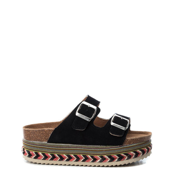 Xti - Double Buckle Elevated Suede Sandals