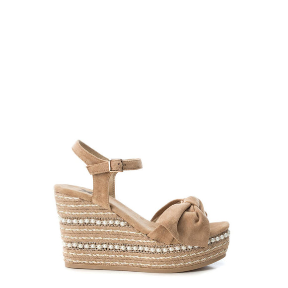 Xti - Bow and Pearl Espadrille Wedge Sandals