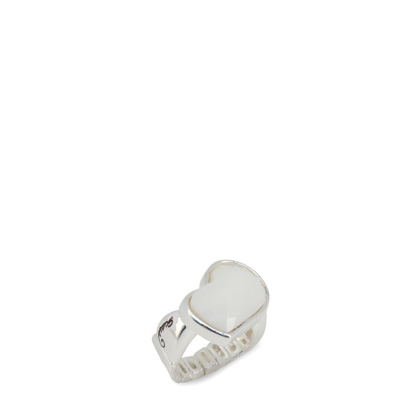 Guess - Steel Ring with White Stone
