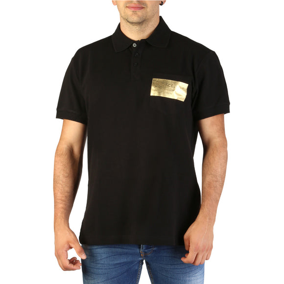 Versace Jeans - Men's Short Sleeve Black Polo Shirt with Gold Logo