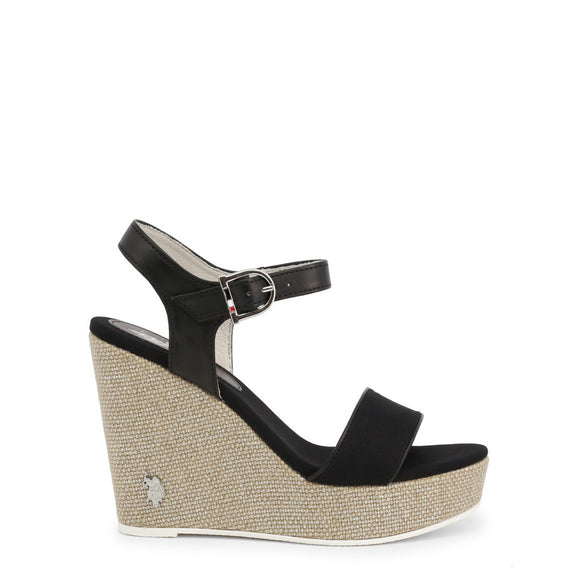 U.S. Polo Assn. - Women's Black Strappy Wedge Sandals - AYLIN - CY1's  - I Love Fashion 365 - Zovasa