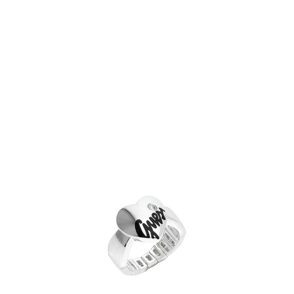 Guess - Steel Heart Ring with Single Pave Crystal and Visible Guess Logo - i Love Fashion 365 - Zovasa