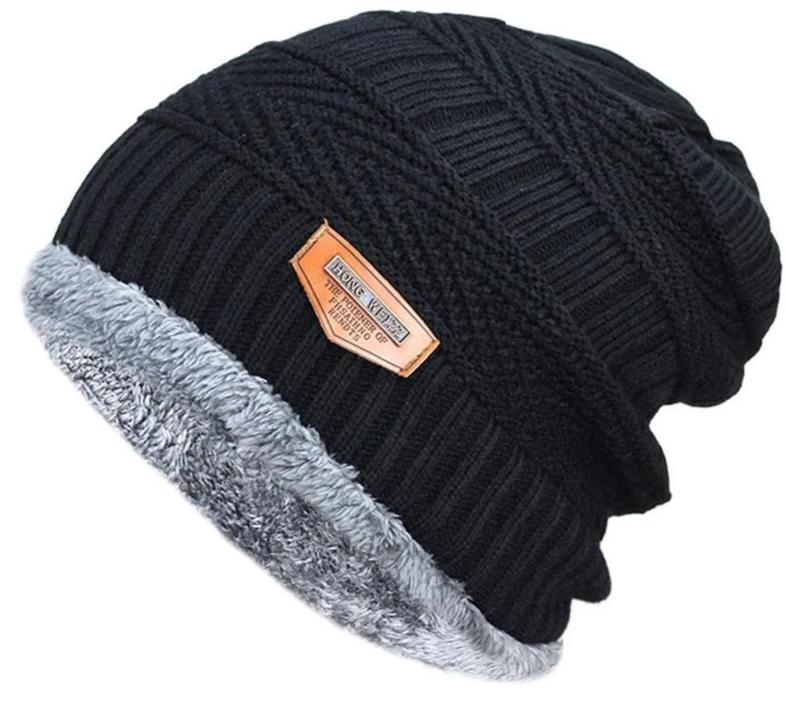 688e19ff98e44 Men s winter hat 2017 fashion knitted black hats Fall Hat Thick and warm  and Bonnet Skullies