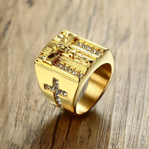 Jesus Cross White Cubic Zirconia Ring for Men - VolcanoNation.com