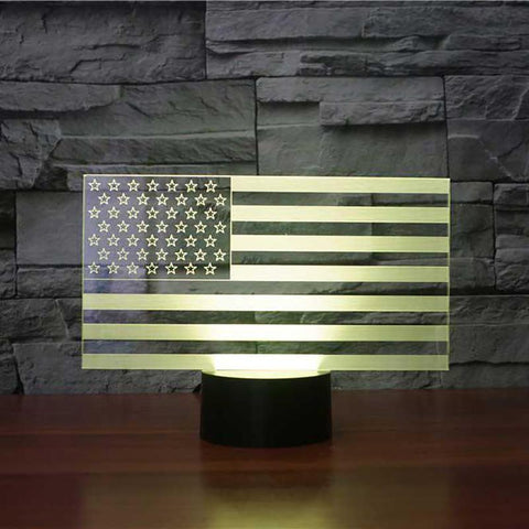 Color Changing 3D LED American Flag Table Lamp - VolcanoNation.com