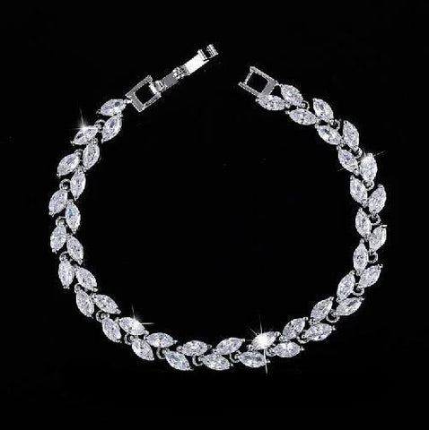 Leaf Charm Crystal Bracelet For Women - VolcanoNation.com