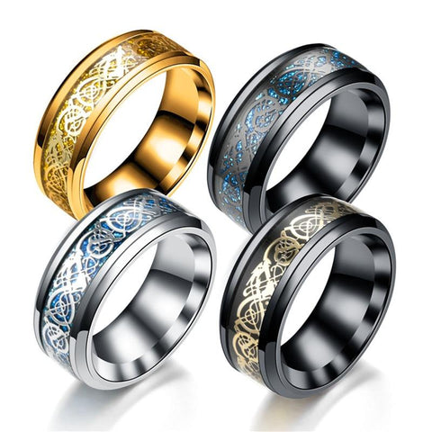 Celtic Tungsten Dragon Design Ring - VolcanoNation.com