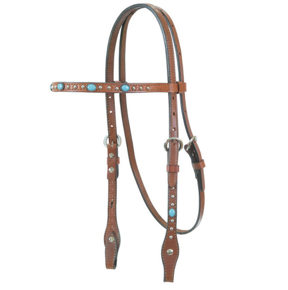 Straight Browband Bridle w Turquoise Stones