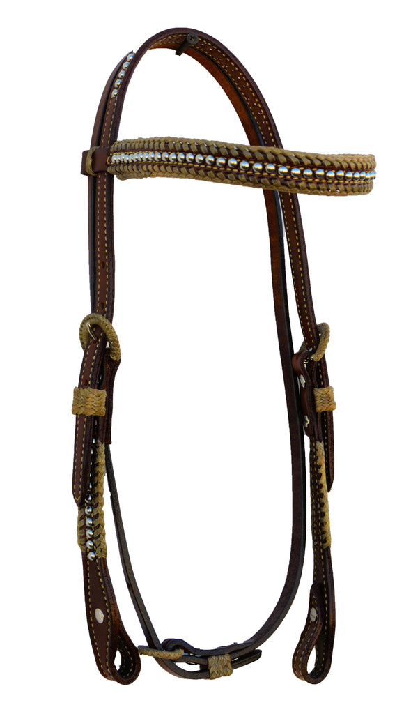 Straight Brow Band Bridle w Spanish Lacing and SS Spots