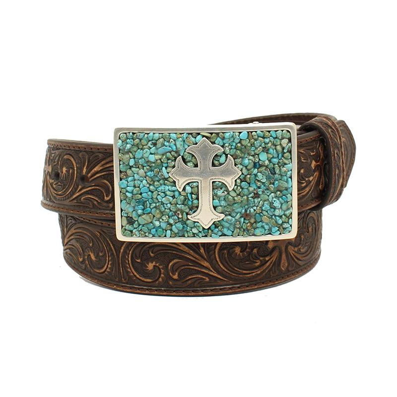 Square Turquoise Buckle w Cross Floral Tooled Belt