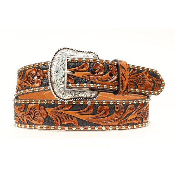 Floral Tooled W Black Inlay Cowhide w Concho Mens Belt