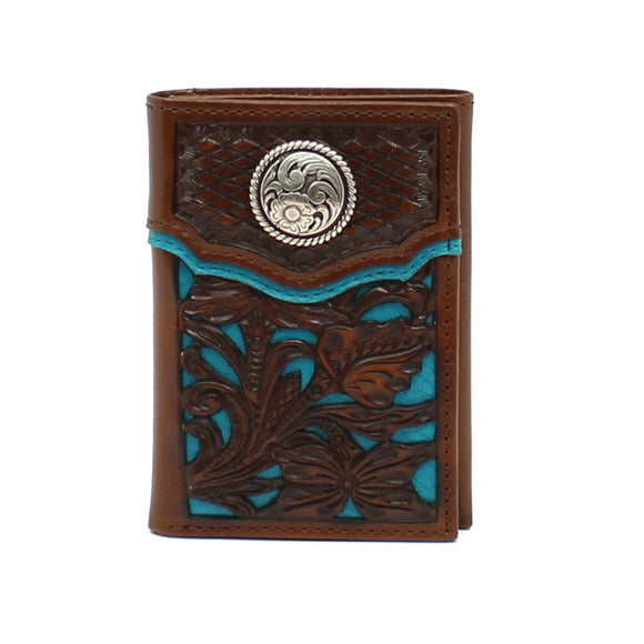 Trifold Floral Tooled Turq Underlay Wallet