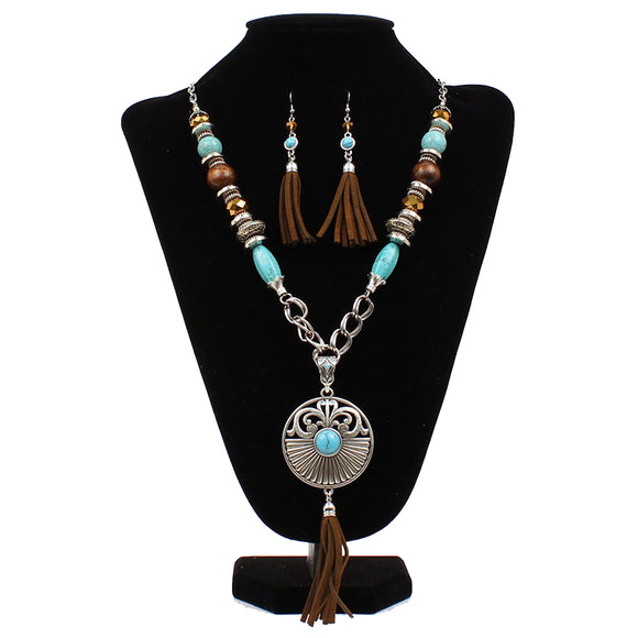 Large Bead Chain Necklace Earring Set