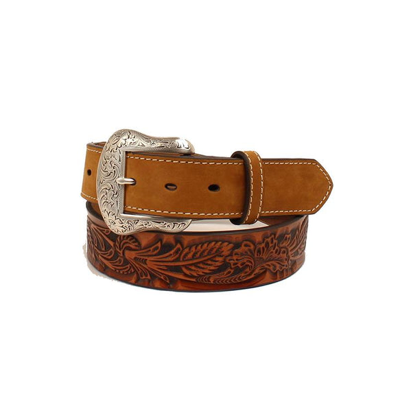 Floral Embossed Mens Belt