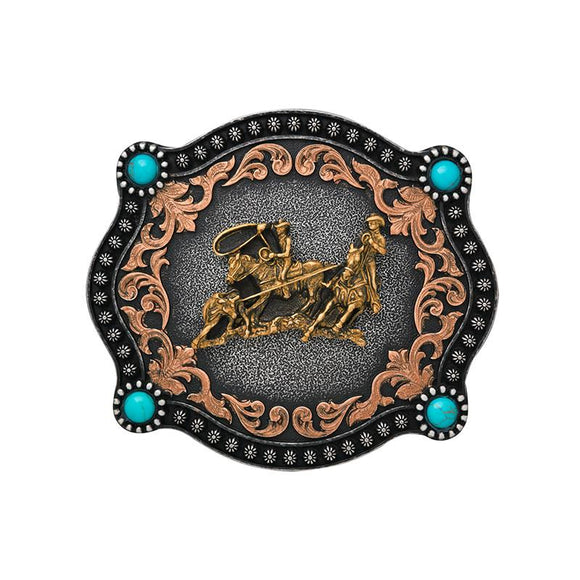 Turquoise Spot Team Roping Buckle