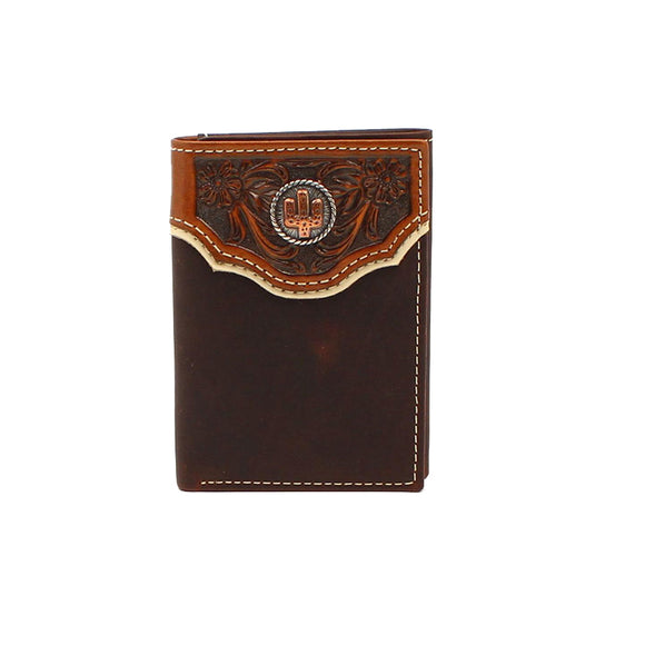 Trifold Floral Embossed Overlay Cactus Wallet