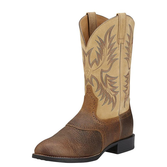 Ariat Mens Heritage Stockman Tumbled Brown Beige Boot