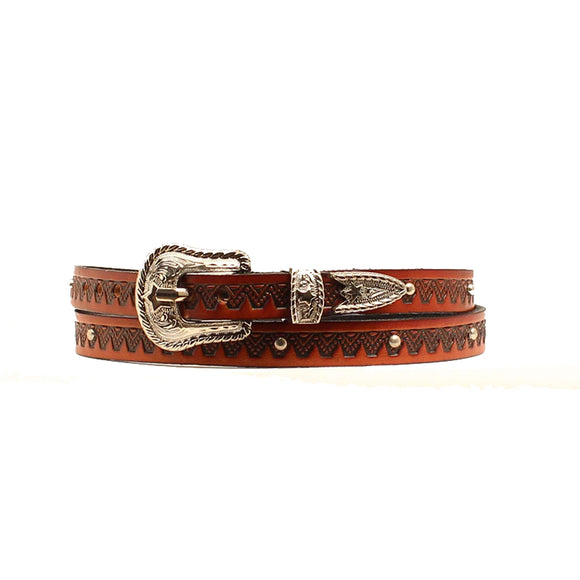 Tooled w Studs Antique Hatband